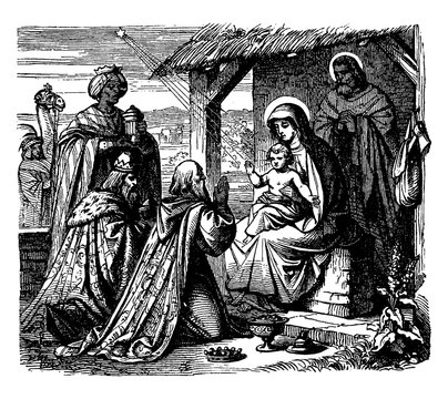 Adoration of the Magi - The Wise Men Present Gifts to Jesus vintage illustration.