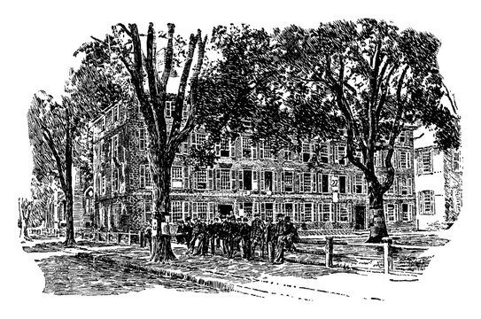 The Old Fence at Yale or Old Brick Row college,  vintage engraving.