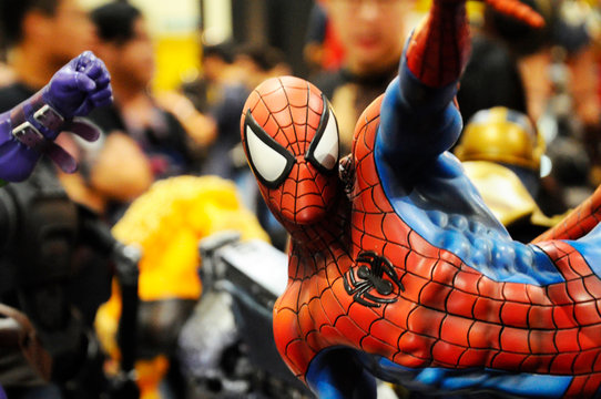 KUALA LUMPUR, MALAYSIA -APRIL 7, 2018: Selected focused on Marvel Comic action figure called Spider-man. He was one of the Avengers teams. Action figures displayed by the collector.