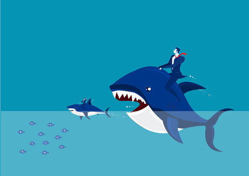 Vector - Big fish with dollar sign eating many small ones.
