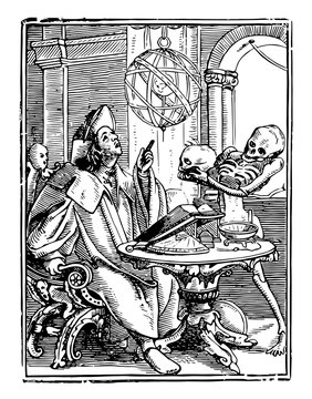 Dance of Death, The Astrologer from Hans Holbein's series of engravings, vintage engraving.