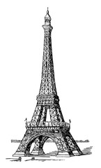 Fototapeta Eiffel Tower, first and second levels,  vintage engraving.