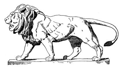 Walking Lion is a Modern French statue, vintage engraving.