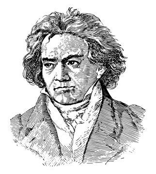 Ludwig van Beethoven, vintage illustration