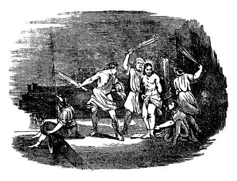 Jesus Scourged before Crucifixion vintage illustration.