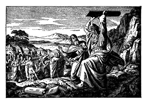 Moses Breaks the Stone Tablets on Which the Ten Commandments are Written vintage illustration.