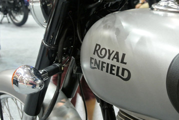 KUALA LUMPUR, MALAYSIA -MARCH 31, 2018: ROYAL ENFIELD motorcycle brand and logos at the motorcycle body. Royal Enfield motorcycle is originally from the United Kingdom but now and manufactured by Indi