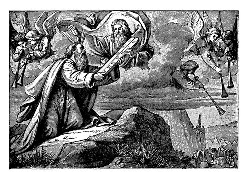 Moses Receives the Ten Commandments on Two Tablets of Stone vintage illustration.