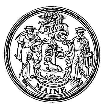 The seal of the state of Maine, vintage illustration