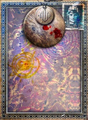 Poster Imagination Gothic and abstract background with surreal window and frame