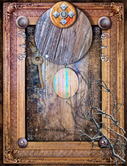 La pose en embrasure Imagination Gothic and abstract background with surreal window and frame