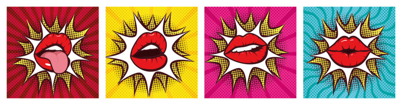 set of sexy woman mouths with splash pop art style