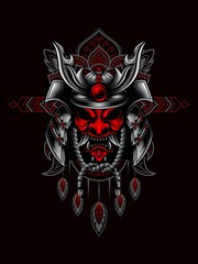 Samurai mask and helmet vector illustration with mandala as the background ornament, suitable for apparel merchandise, t-shirt or outerwear.