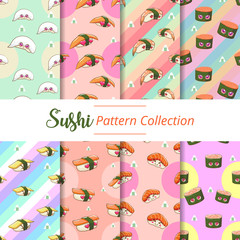 japanese seafood sushi pattern background wallpaper seamless poster set vector graphic design