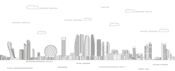 Fototapete - Abu Dhabi cityscape line art style detailed vector illustration