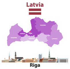 Fototapete - Vector map of Latvia regions with Riga city skyline