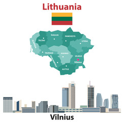 Fototapete - Lithuania regions map and flag. Vilnius city skyline. Vector illustration