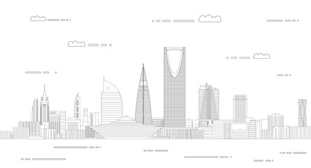 Fototapete - Vector travel background poster with Riyadh city line art style outline illustration