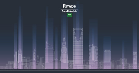 Fototapete - Riyadh cityscape at night line art style detailed vector illustration