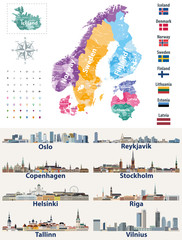 Fototapete - vector Scandinavian and Baltic countries map with flags and cities skylines: Copenhagen, Stockholm, Oslo, Reykjavik, Helsinki, Riga, Tallinn, Vilnius.