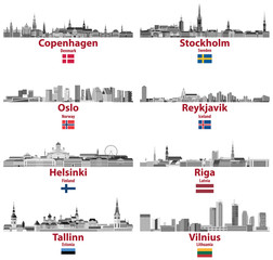 Fototapete - vector set of Baltic and Scandinavian countries' cities skylines: Copenhagen, Stockholm, Oslo, Reykjavik, Helsinki, Riga, Tallinn, Vilnius.