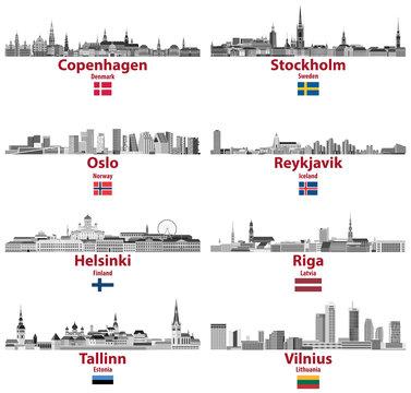 vector set of Baltic and Scandinavian countries' cities skylines: Copenhagen, Stockholm, Oslo, Reykjavik, Helsinki, Riga, Tallinn, Vilnius.