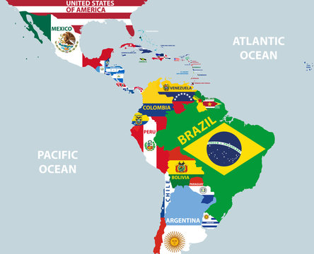 vector part of world map with region of Latin American countries mixed with their national flags