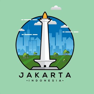 Jakarta Monas Flat Vector Design Illustration. National Monument of Indonesia the Landmark of Jakarta City.