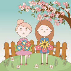 Wall Mural - girls tree floral branch flowers bouquets cartoon
