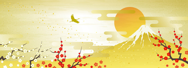 紅白の梅と富士山 初日の出