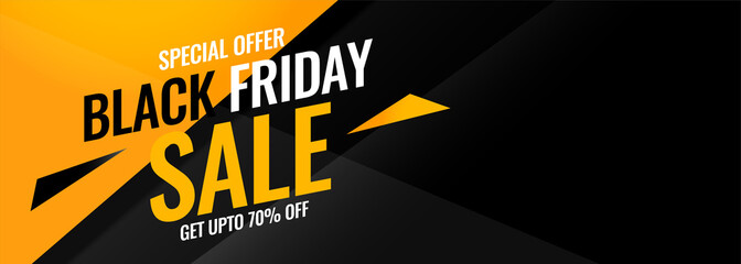black friday yellow and black abstract sale banner Fotobehang