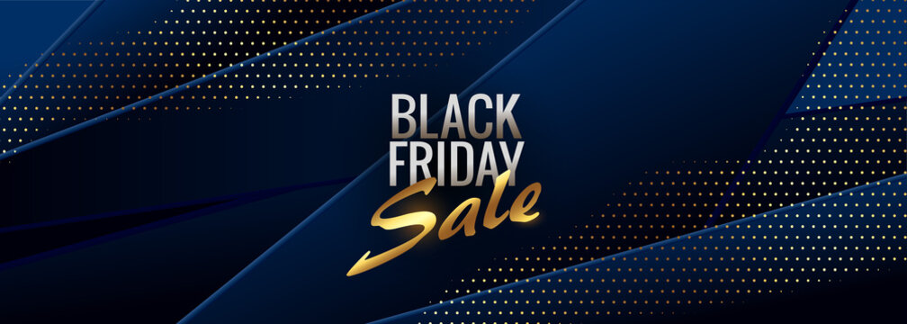abstract blue black friday stylish banner design