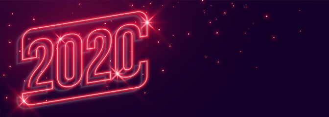 beautiful 2020 new year neon style glowing banner design