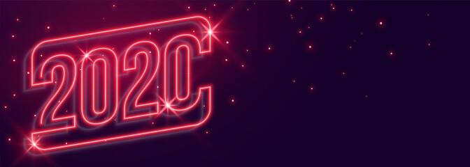 beautiful 2020 new year neon style glowing banner design Fototapete