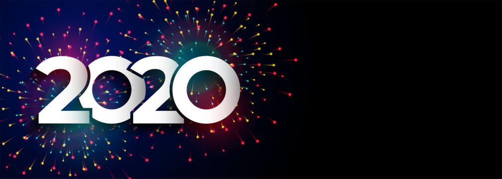 happy new year celebration 2020 firework banner design