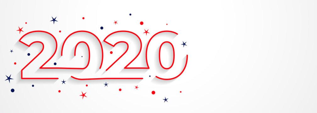 minimal 2020 line style new year typography design