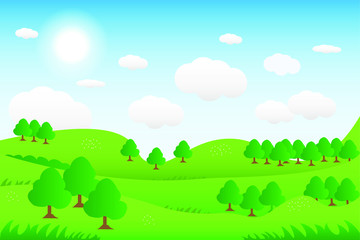 Gorgeous view. Vector illustration of green hill landscape with panoramic mountain and cloud sky.
