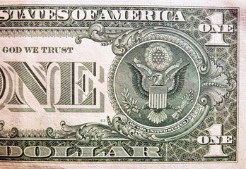 In de dag Imagination Dollar bill, close up view