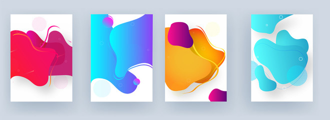 Collection of template or flyer design with fluid art abstract background.