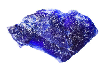 Macro photography of a sodalite stone on a white background