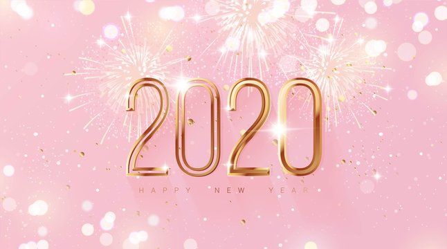 Happy new year 2020 holiday background with 3d numbers 2020, fireworks and Christmas lights in pink and gold colors. Vector illustration