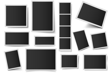 Wall Mural - Photo card frames. Rectangular instant photos, square snapshot frame and photo snap with realistic shadow vector set. Empty 3d frames collection. Blank borders isolated on white background