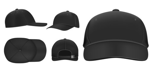 Black cap mockup. Sport baseball caps template, summer hat with visor and uniform hats different views realistic 3D vector set. Headwear illustrations collection. Cap front, top, side, back view