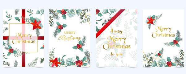 Wall Mural - Collection of Christmas background set with holly leaves,flower,ribbon.Editable vector illustration for New year invitation,postcard and website banner