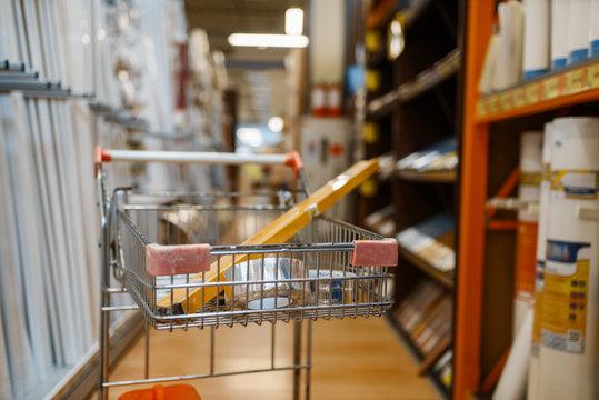 Hardware store assortment, cart with equipment