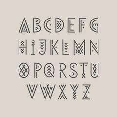 Linear geometric uppercase font decorated with thin lines.