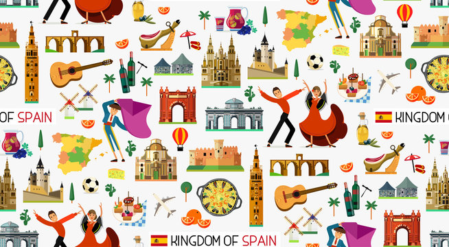 Spain Travel Icons. Spain Travel Map. Vector.