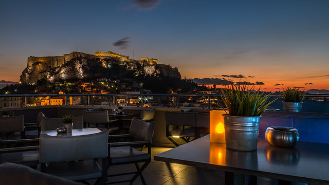 View from a rooftop bar over Athens