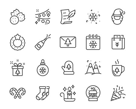 set of christmas icons, winter, snowman, christmas tree, christmas party, 25 december