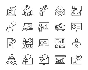 set of presentation icons, meeting, seminar, teamwork, training, presentation